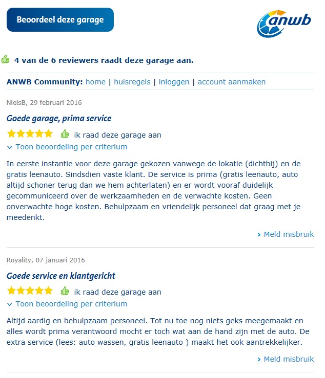 Anwb review Autobedrijf Hans Raaymakers